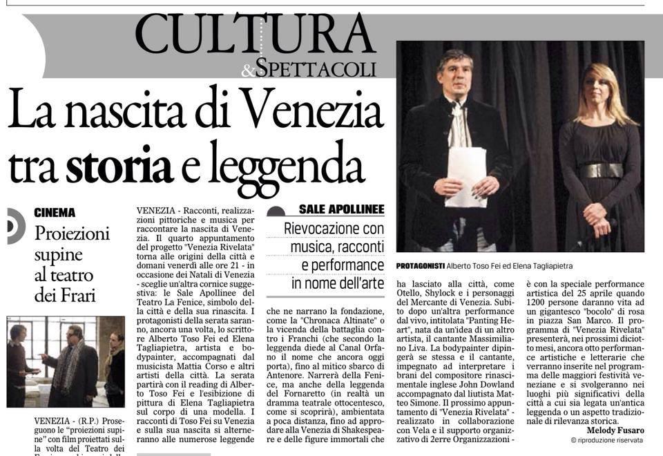 articolo del gazzettino di venezia inerente la tappa di venezia rivelata
